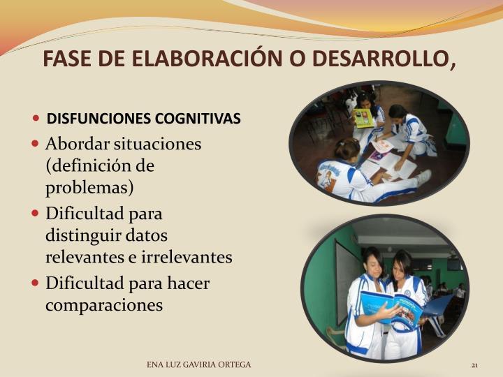 FASE DE ELABORACIÓN O DESARROLLO