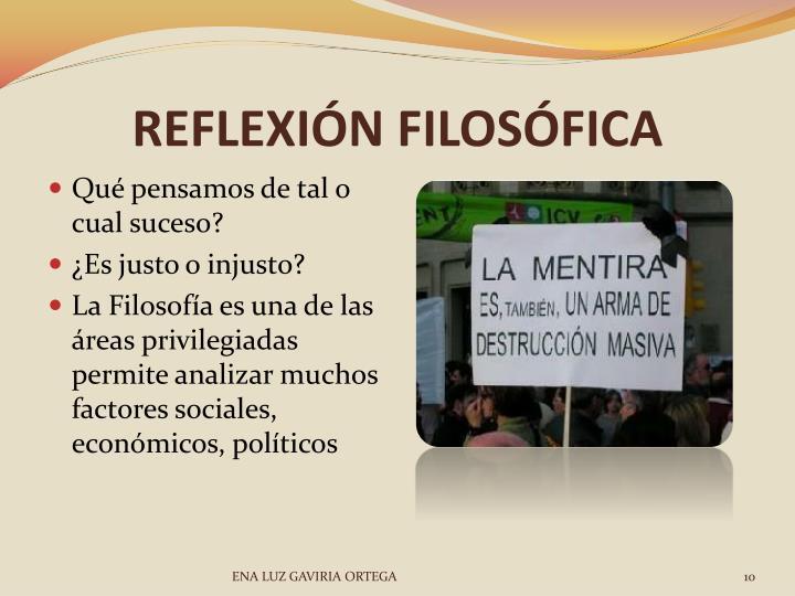 REFLEXIÓN FILOSÓFICA