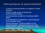defining features of social enterprises