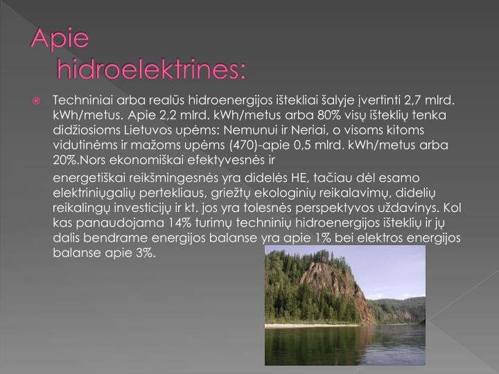 Apie hidroelektrines: