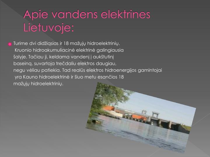 Apie vandens elektrines Lietuvoje: