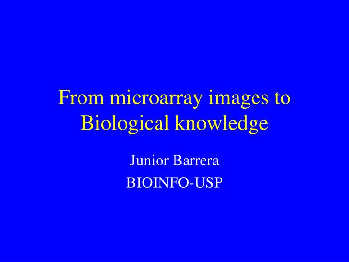 from microarray images to biological knowledge n.