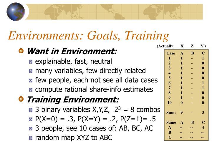 Environments: Goals, Training