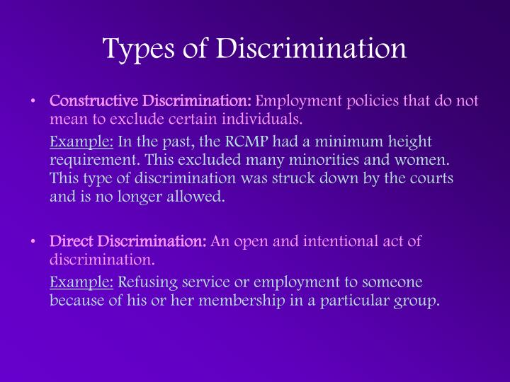 types discrimination Below is helpful information from the equal opportunity employment commission regarding specific types of discrimination prohibited by.