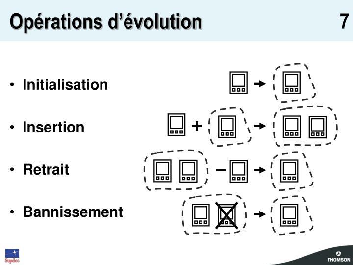 Opérations d'évolution