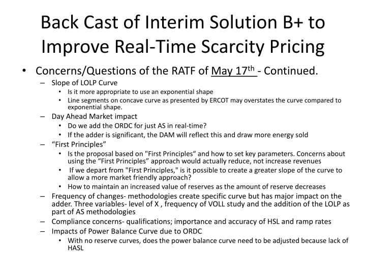 Back cast of interim solution b to improve real time scarcity pricing1