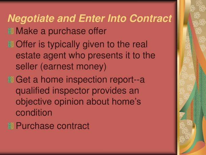 Negotiate and Enter Into Contract