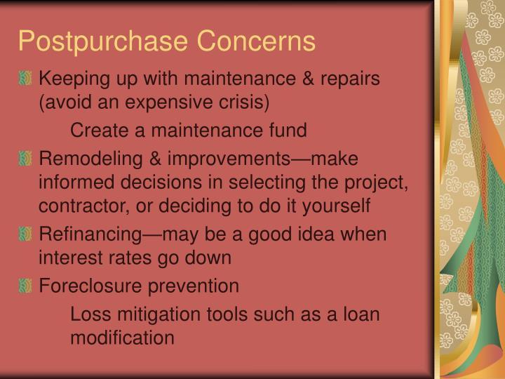 Postpurchase Concerns