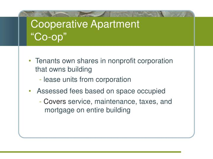 "Cooperative Apartment               ""Co-op"""