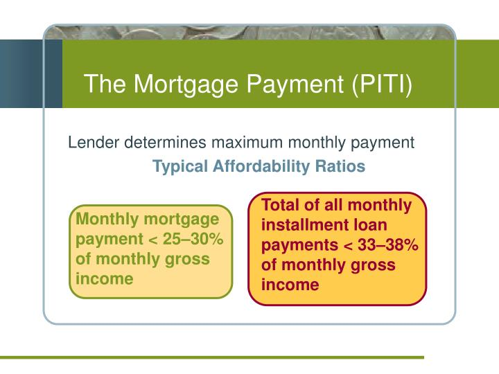 Lender determines maximum monthly payment