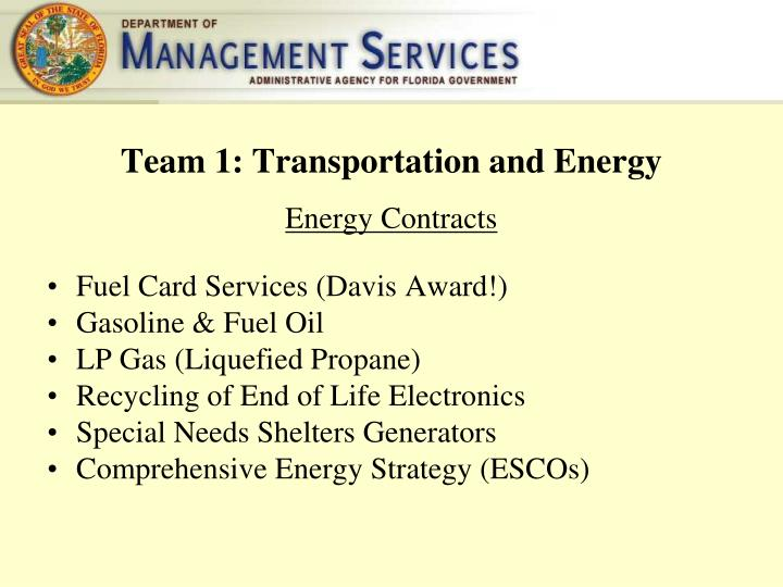 Team 1: Transportation and Energy