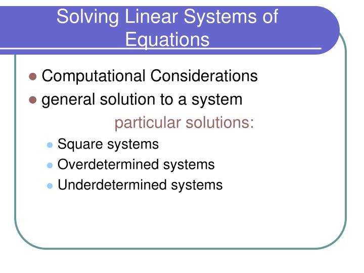 solving linear systems of equations n.