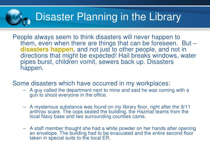 Disaster Planning in the Library