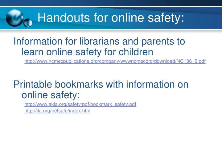 Handouts for online safety: