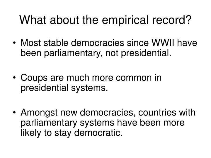 What about the empirical record?