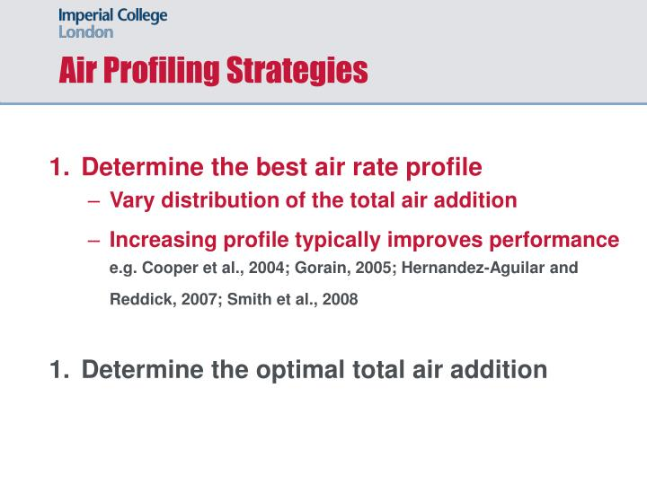 Air Profiling Strategies