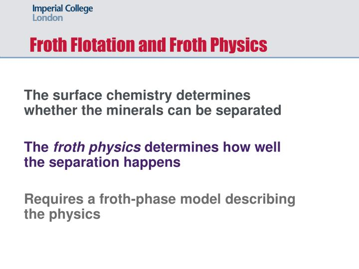 Froth Flotation and Froth Physics