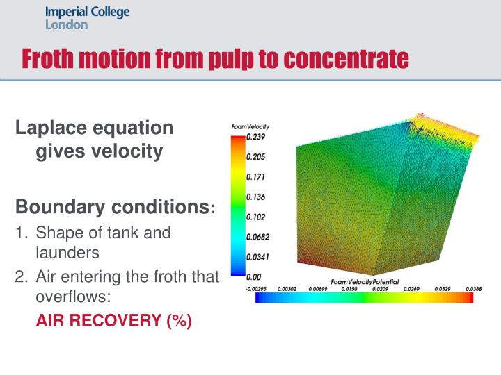 Froth motion from pulp to concentrate
