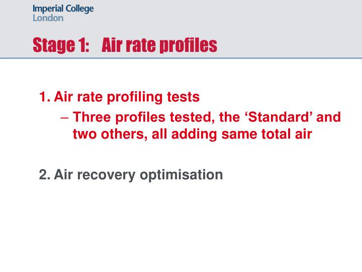 Stage 1:    Air rate profiles