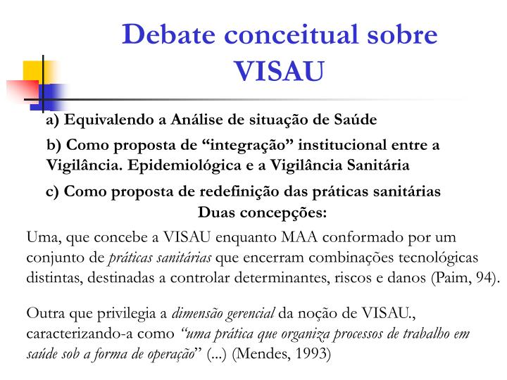 Debate conceitual sobre