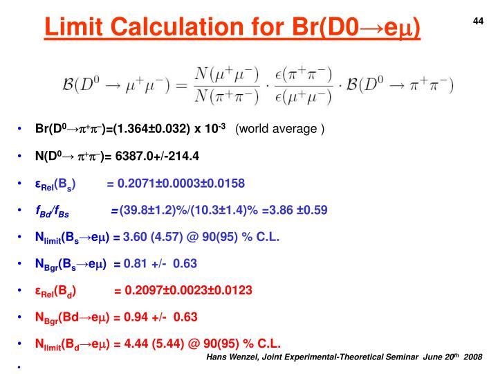 Limit Calculation for Br(D0