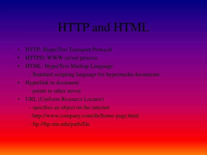HTTP and HTML