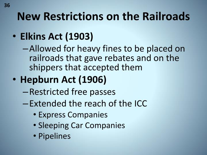 New Restrictions on the Railroads
