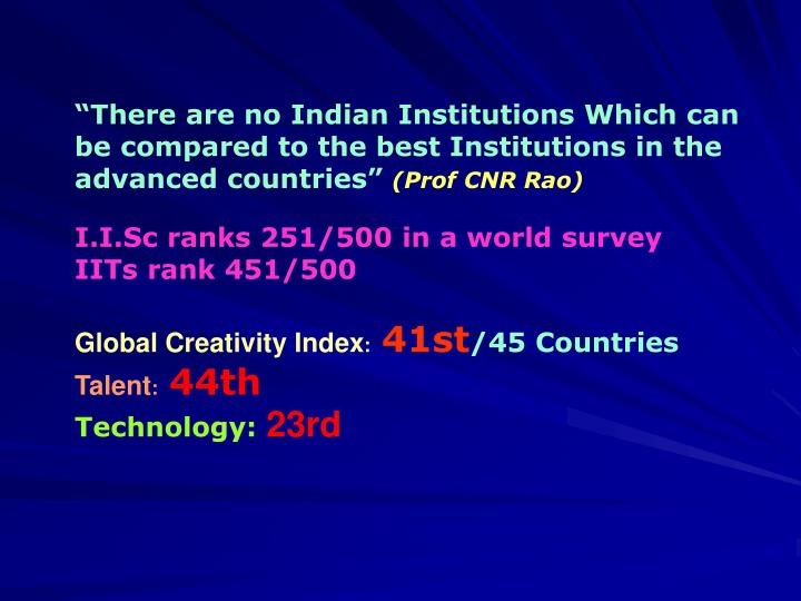 """""""There are no Indian Institutions Which can be compared to the best Institutions in the advanced countries"""""""