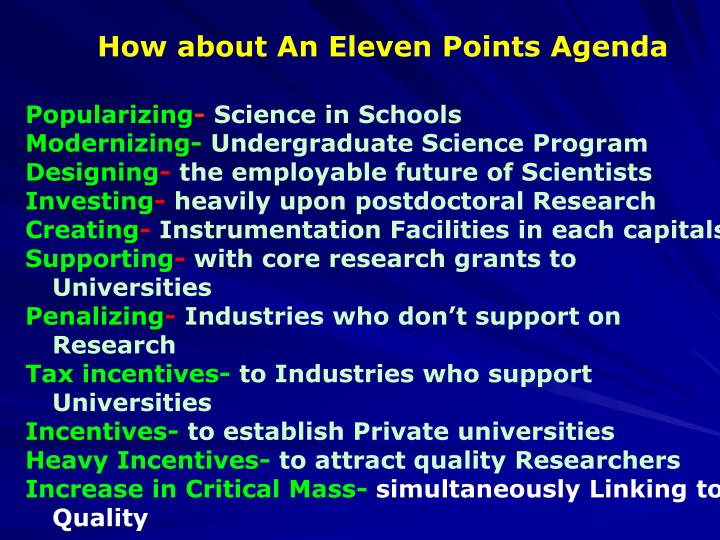 How about An Eleven Points Agenda