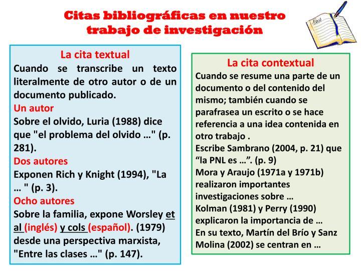 Citas bibliográficas en nuestro trabajo de investigación