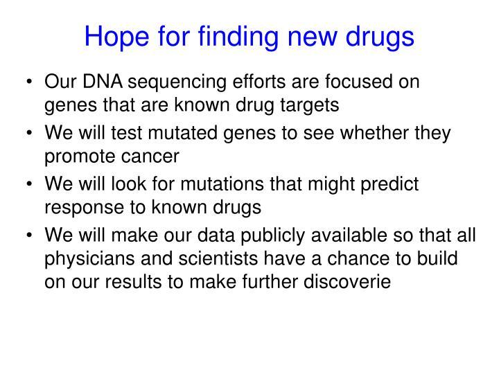 Hope for finding new drugs
