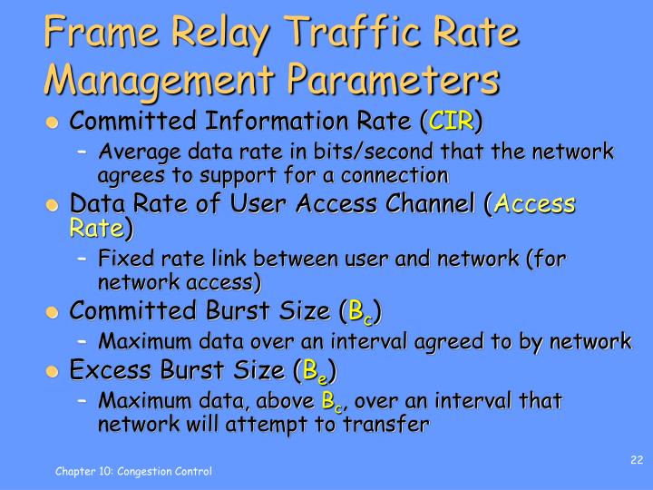Frame Relay Traffic Rate Management Parameters