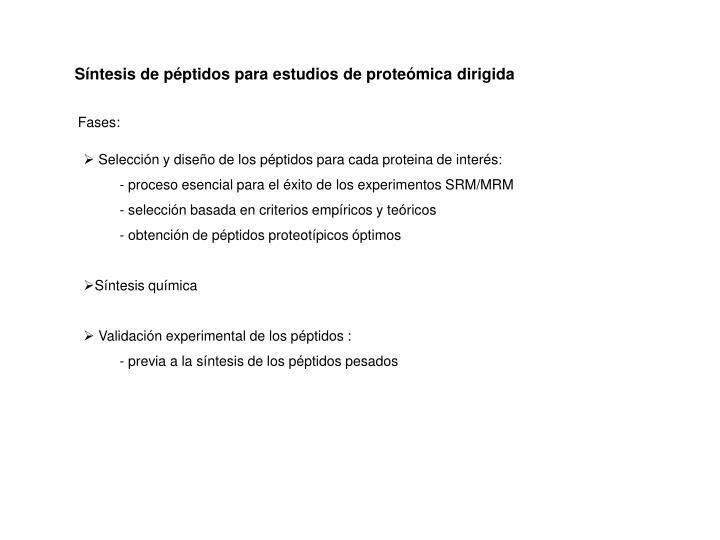 Síntesis de péptidos para estudios de proteómica dirigida