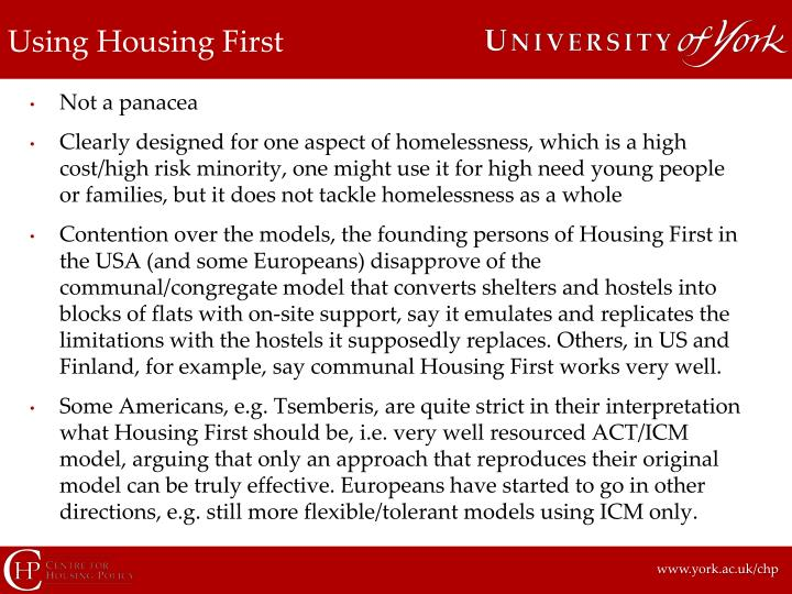 Using Housing First