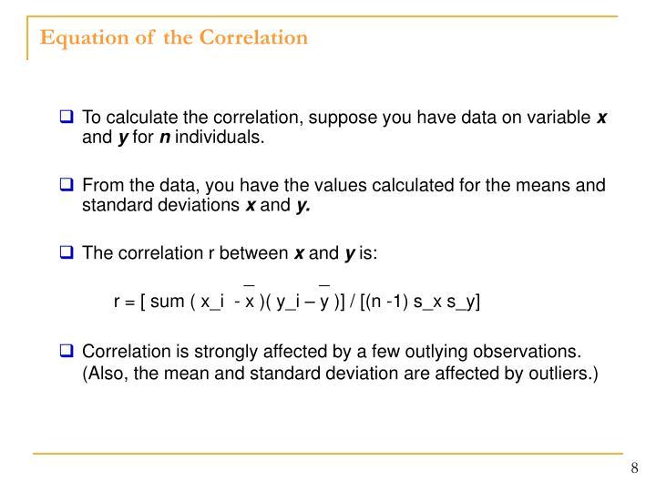 Equation of the Correlation