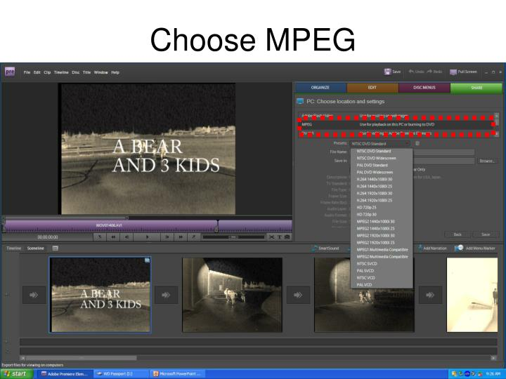 Choose MPEG