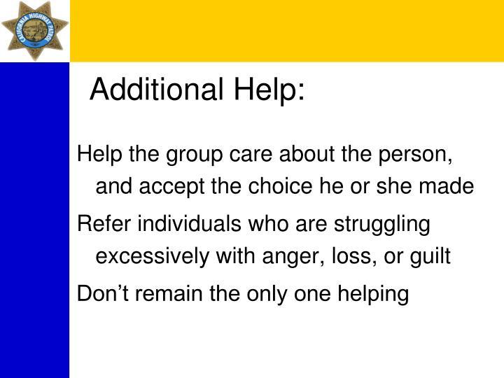 Additional Help: