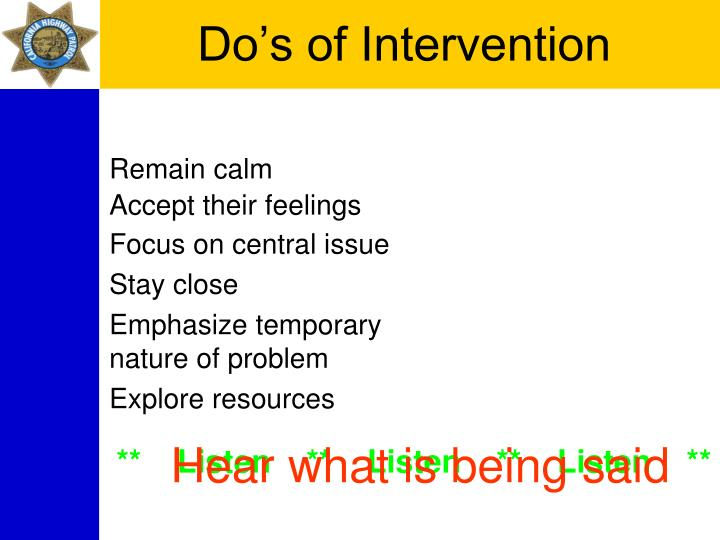 Do's of Intervention