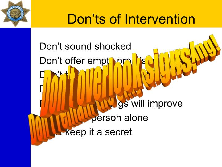 Don'ts of Intervention