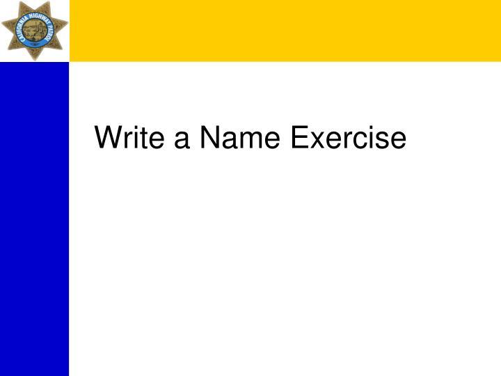 Write a Name Exercise