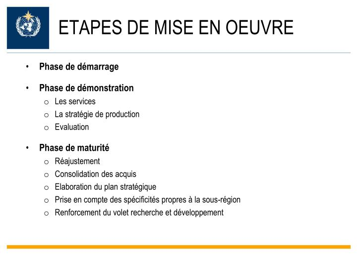 ETAPES DE MISE EN OEUVRE