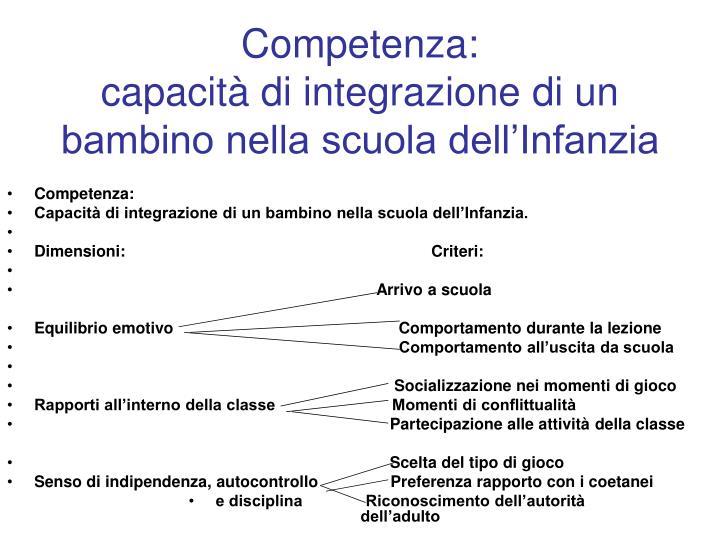 Competenza capacit di integrazione di un bambino nella scuola dell infanzia