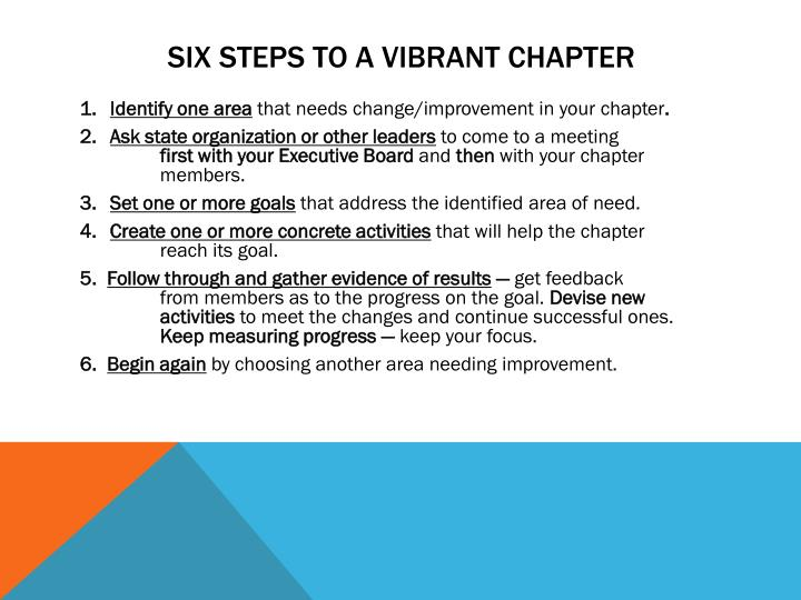 SIX steps to a Vibrant Chapter