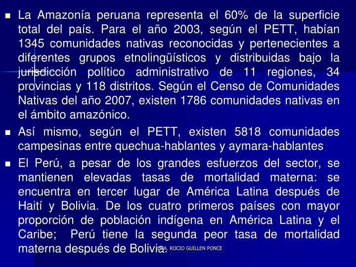 La Amazonía peruana representa el 60% de la superficie total del país. Para el año 2003, según el PETT, habían 1345 comunidades nativas reconocidas y pertenecientes a diferentes grupos etnolingüísticos y distribuidas bajo la jurisdicción político administrativo de 11 regiones, 34 provincias y 118 distritos. Según el Censo de Comunidades Nativas del año 2007, existen 1786 comunidades nativas en el ámbito amazónico.