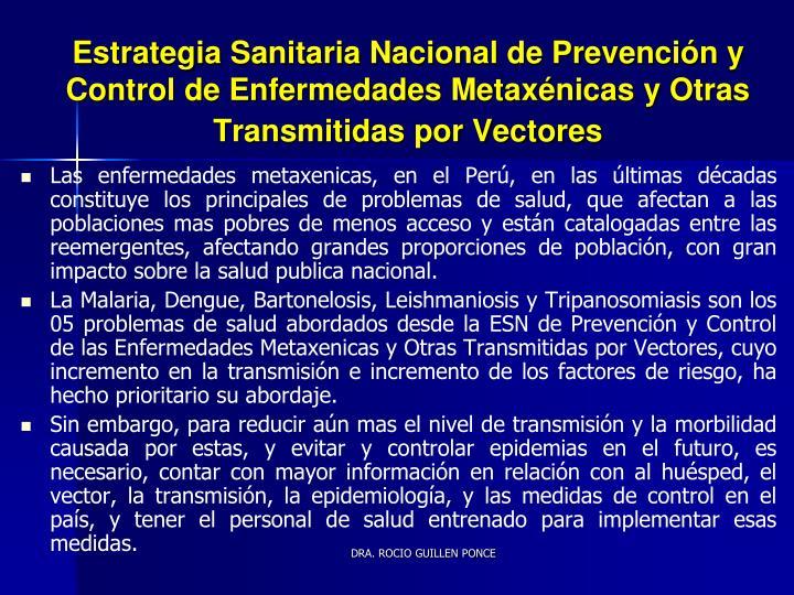 Estrategia Sanitaria Nacional de Prevención y
