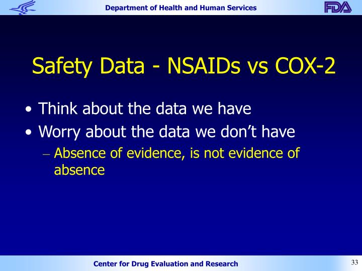 Safety Data - NSAIDs vs COX-2