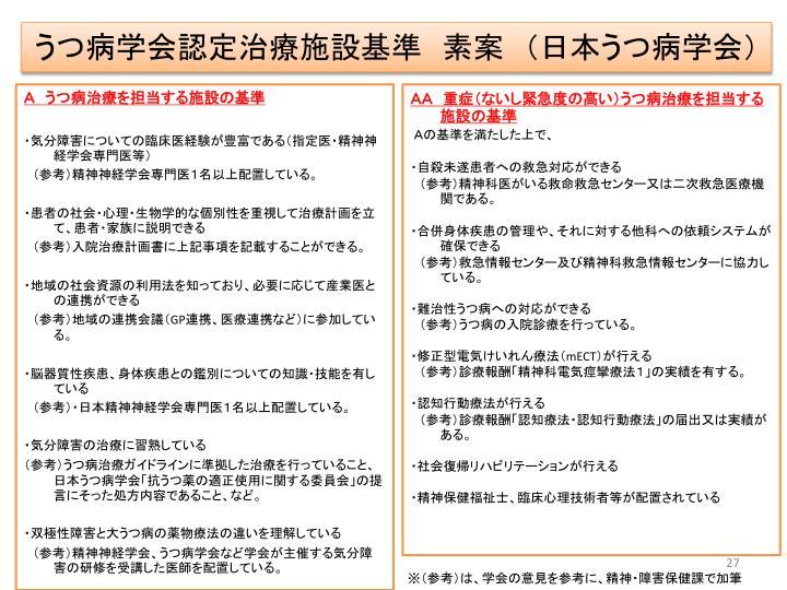 うつ病学会認定治療施設基準 素案 (日本うつ病学会)