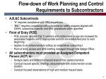 flow down of work planning and control requirements to subcontractors