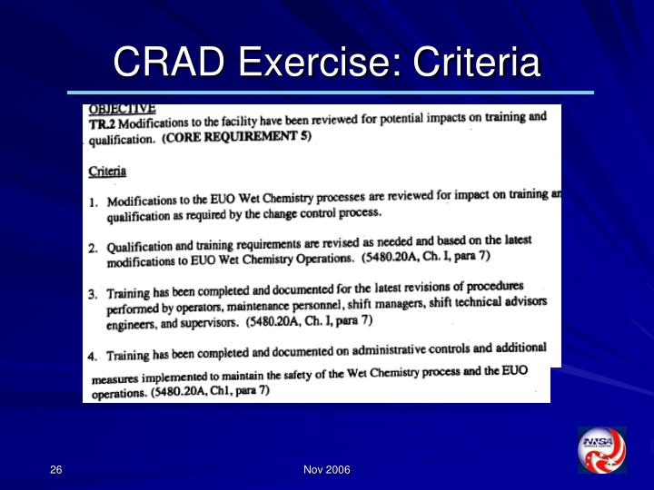 CRAD Exercise: Criteria