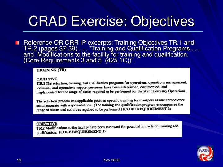 CRAD Exercise: Objectives
